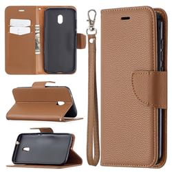 Classic Luxury Litchi Leather Phone Wallet Case for Nokia C1 Plus - Brown