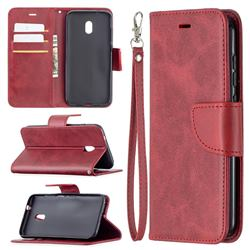 Classic Sheepskin PU Leather Phone Wallet Case for Nokia C1 Plus - Red
