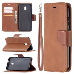 Classic Sheepskin PU Leather Phone Wallet Case for Nokia C1 Plus - Brown