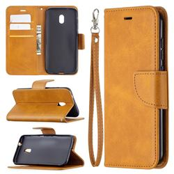 Classic Sheepskin PU Leather Phone Wallet Case for Nokia C1 Plus - Yellow