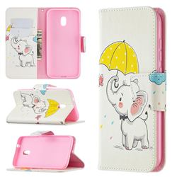 Umbrella Elephant Leather Wallet Case for Nokia C1 Plus