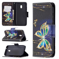 Golden Shining Butterfly Leather Wallet Case for Nokia C1 Plus