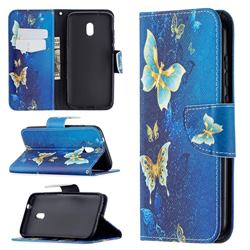 Golden Butterflies Leather Wallet Case for Nokia C1 Plus