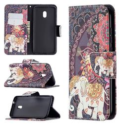 Totem Flower Elephant Leather Wallet Case for Nokia C1 Plus
