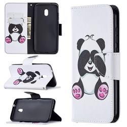 Lovely Panda Leather Wallet Case for Nokia C1 Plus
