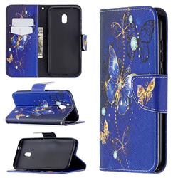 Purple Butterfly Leather Wallet Case for Nokia C1 Plus