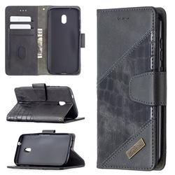 BinfenColor BF04 Color Block Stitching Crocodile Leather Case Cover for Nokia C1 Plus - Black