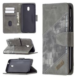 BinfenColor BF04 Color Block Stitching Crocodile Leather Case Cover for Nokia C1 Plus - Gray