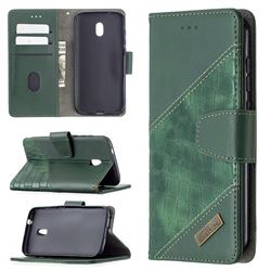 BinfenColor BF04 Color Block Stitching Crocodile Leather Case Cover for Nokia C1 Plus - Green
