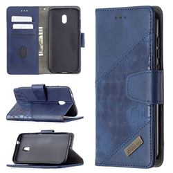 BinfenColor BF04 Color Block Stitching Crocodile Leather Case Cover for Nokia C1 Plus - Blue