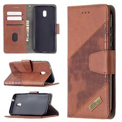 BinfenColor BF04 Color Block Stitching Crocodile Leather Case Cover for Nokia C1 Plus - Brown