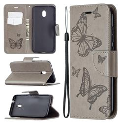 Embossing Double Butterfly Leather Wallet Case for Nokia C1 Plus - Gray