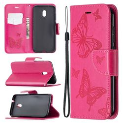 Embossing Double Butterfly Leather Wallet Case for Nokia C1 Plus - Red