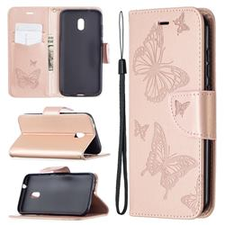 Embossing Double Butterfly Leather Wallet Case for Nokia C1 Plus - Rose Gold