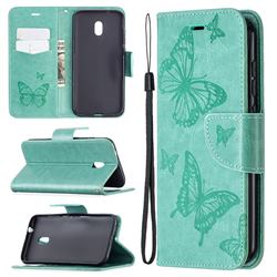 Embossing Double Butterfly Leather Wallet Case for Nokia C1 Plus - Green