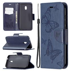 Embossing Double Butterfly Leather Wallet Case for Nokia C1 Plus - Dark Blue