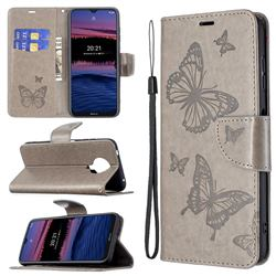 Embossing Double Butterfly Leather Wallet Case for Nokia G20 - Gray