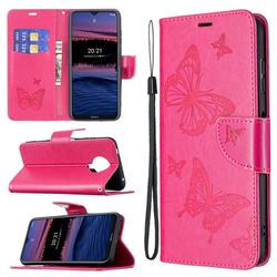 Embossing Double Butterfly Leather Wallet Case for Nokia G20 - Red