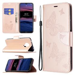 Embossing Double Butterfly Leather Wallet Case for Nokia G20 - Rose Gold