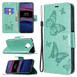 Embossing Double Butterfly Leather Wallet Case for Nokia G20 - Green