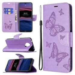 Embossing Double Butterfly Leather Wallet Case for Nokia G20 - Purple