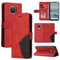 Luxury Two-color Stitching Leather Wallet Case Cover for Nokia G20 - Red