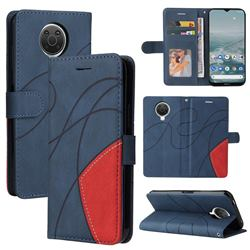 Luxury Two-color Stitching Leather Wallet Case Cover for Nokia G20 - Blue