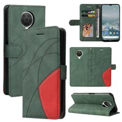 Luxury Two-color Stitching Leather Wallet Case Cover for Nokia G20 - Green