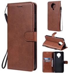 Retro Greek Classic Smooth PU Leather Wallet Phone Case for Nokia G20 - Brown