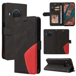 Luxury Two-color Stitching Leather Wallet Case Cover for Nokia X10 - Black