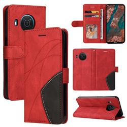 Luxury Two-color Stitching Leather Wallet Case Cover for Nokia X10 - Red