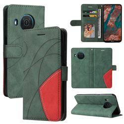 Luxury Two-color Stitching Leather Wallet Case Cover for Nokia X10 - Green