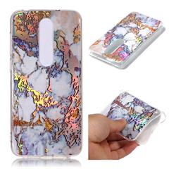 Gold Plating Marble Pattern Bright Color Laser Soft TPU Case for Nokia 6.1 Plus (Nokia X6)