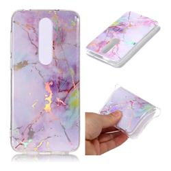 Pink Purple Marble Pattern Bright Color Laser Soft TPU Case for Nokia 6.1 Plus (Nokia X6)