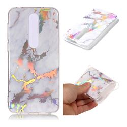 White Marble Pattern Bright Color Laser Soft TPU Case for Nokia 6.1 Plus (Nokia X6)