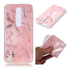 Powder Pink Marble Pattern Bright Color Laser Soft TPU Case for Nokia 6.1 Plus (Nokia X6)