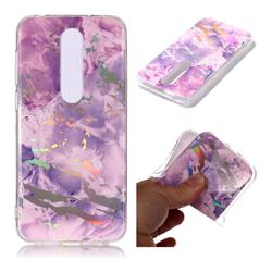 Purple Marble Pattern Bright Color Laser Soft TPU Case for Nokia 6.1 Plus (Nokia X6)