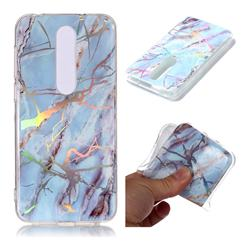 Light Blue Marble Pattern Bright Color Laser Soft TPU Case for Nokia 6.1 Plus (Nokia X6)