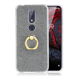 Luxury Soft TPU Glitter Back Ring Cover with 360 Rotate Finger Holder Buckle for Nokia 6.1 Plus (Nokia X6) - Black