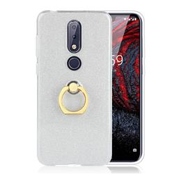 Luxury Soft TPU Glitter Back Ring Cover with 360 Rotate Finger Holder Buckle for Nokia 6.1 Plus (Nokia X6) - White