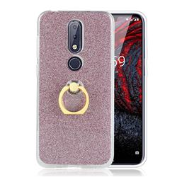 Luxury Soft TPU Glitter Back Ring Cover with 360 Rotate Finger Holder Buckle for Nokia 6.1 Plus (Nokia X6) - Pink