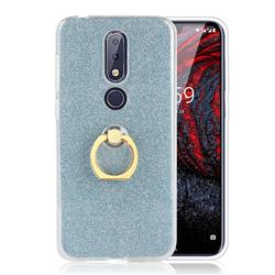 Luxury Soft TPU Glitter Back Ring Cover with 360 Rotate Finger Holder Buckle for Nokia 6.1 Plus (Nokia X6) - Blue
