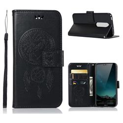 Intricate Embossing Owl Campanula Leather Wallet Case for Nokia 6.1 Plus (Nokia X6) - Black