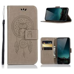 Intricate Embossing Owl Campanula Leather Wallet Case for Nokia 6.1 Plus (Nokia X6) - Grey