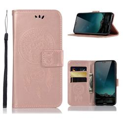 Intricate Embossing Owl Campanula Leather Wallet Case for Nokia 6.1 Plus (Nokia X6) - Rose Gold
