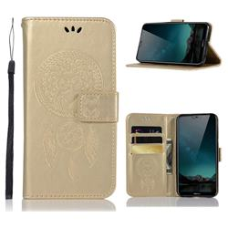 Intricate Embossing Owl Campanula Leather Wallet Case for Nokia 6.1 Plus (Nokia X6) - Champagne