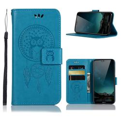 Intricate Embossing Owl Campanula Leather Wallet Case for Nokia 6.1 Plus (Nokia X6) - Blue