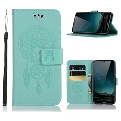 Intricate Embossing Owl Campanula Leather Wallet Case for Nokia 6.1 Plus (Nokia X6) - Green