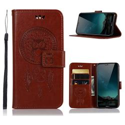 Intricate Embossing Owl Campanula Leather Wallet Case for Nokia 6.1 Plus (Nokia X6) - Brown