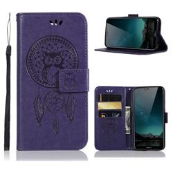 Intricate Embossing Owl Campanula Leather Wallet Case for Nokia 6.1 Plus (Nokia X6) - Purple